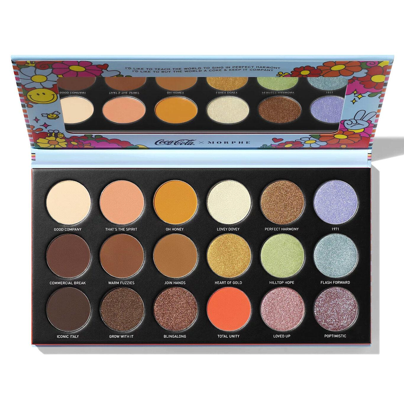 Morphe x Coca Cola 1971 Unity Collection Awe Together Artistry Eyeshadow Palette Open