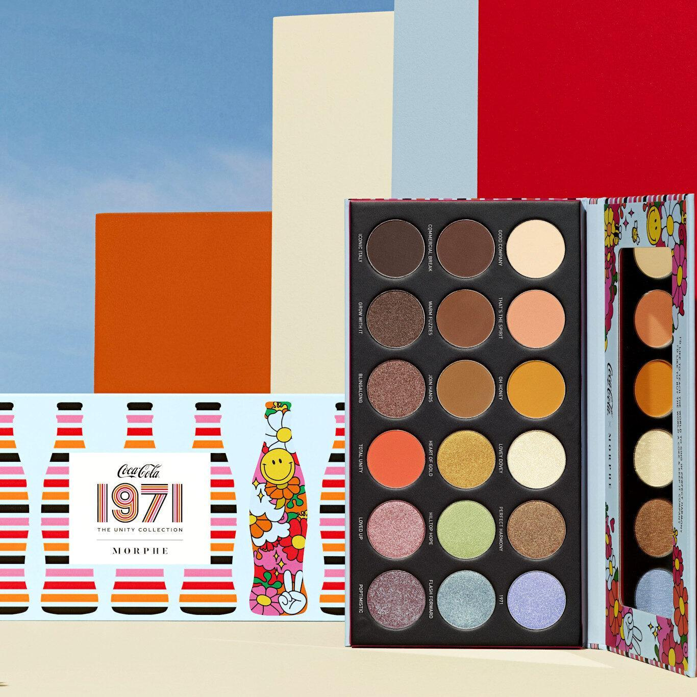 Morphe x Coca Cola 1971 Unity Collection Awe Together Artistry Eyeshadow Palette Open & Closed Promo