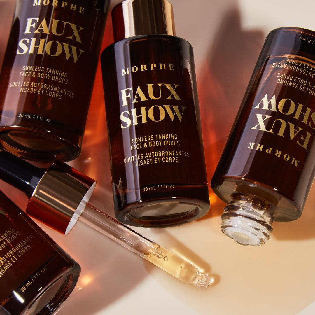Morphe Faux Show Sunless Tanning Face & Body Drops Open & Closed Promo