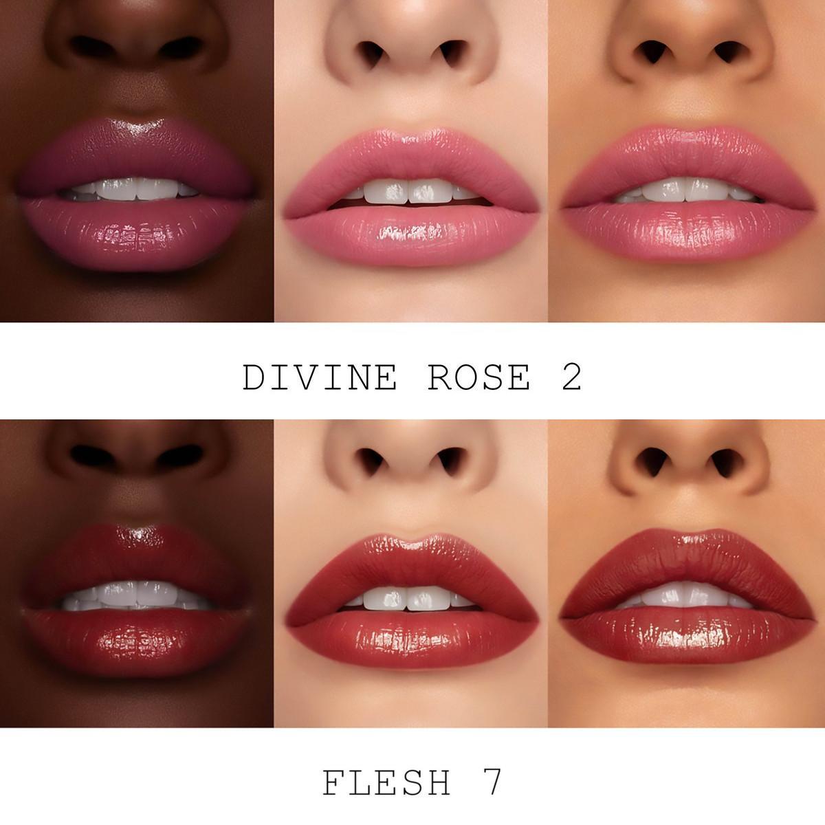 Pat McGrath Divine Blush Collection Lip Fetish Divinyl Lip Shine in Divine Rose 2 & Flesh 7 Lip Swatches