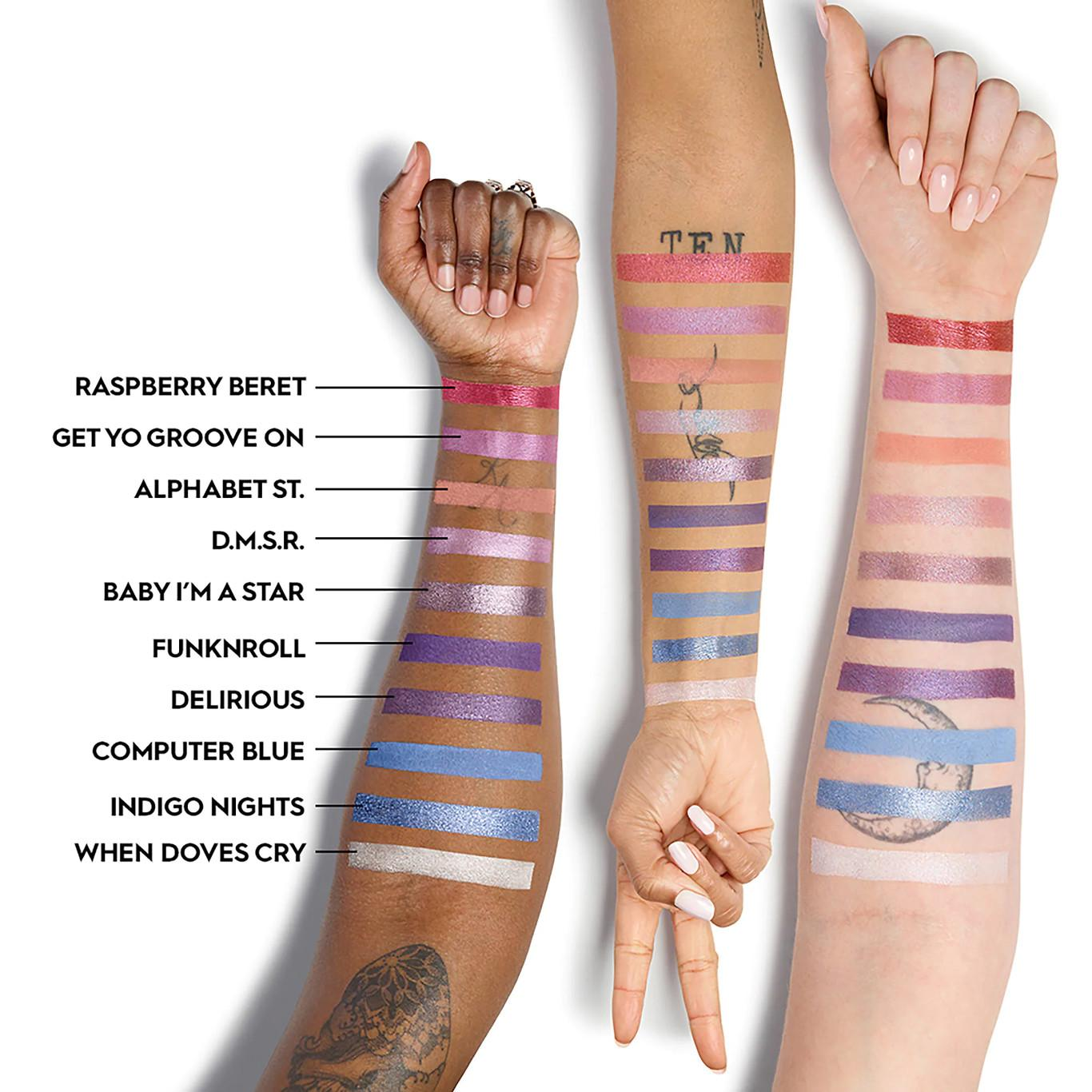Urban Decay Prince Collection Prince Let'S Go Crazy Eyeshadow Palette Arm Swatches