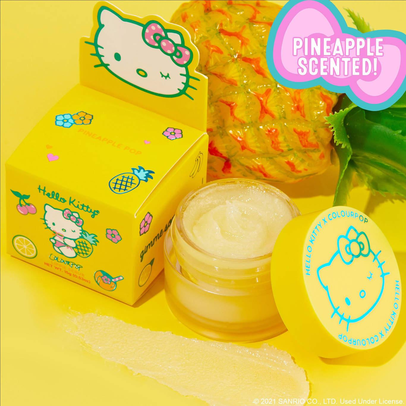 ColourPop x Hello Kitty Tropical Escape Collection Pineapple Pop Lippie Scrub Open