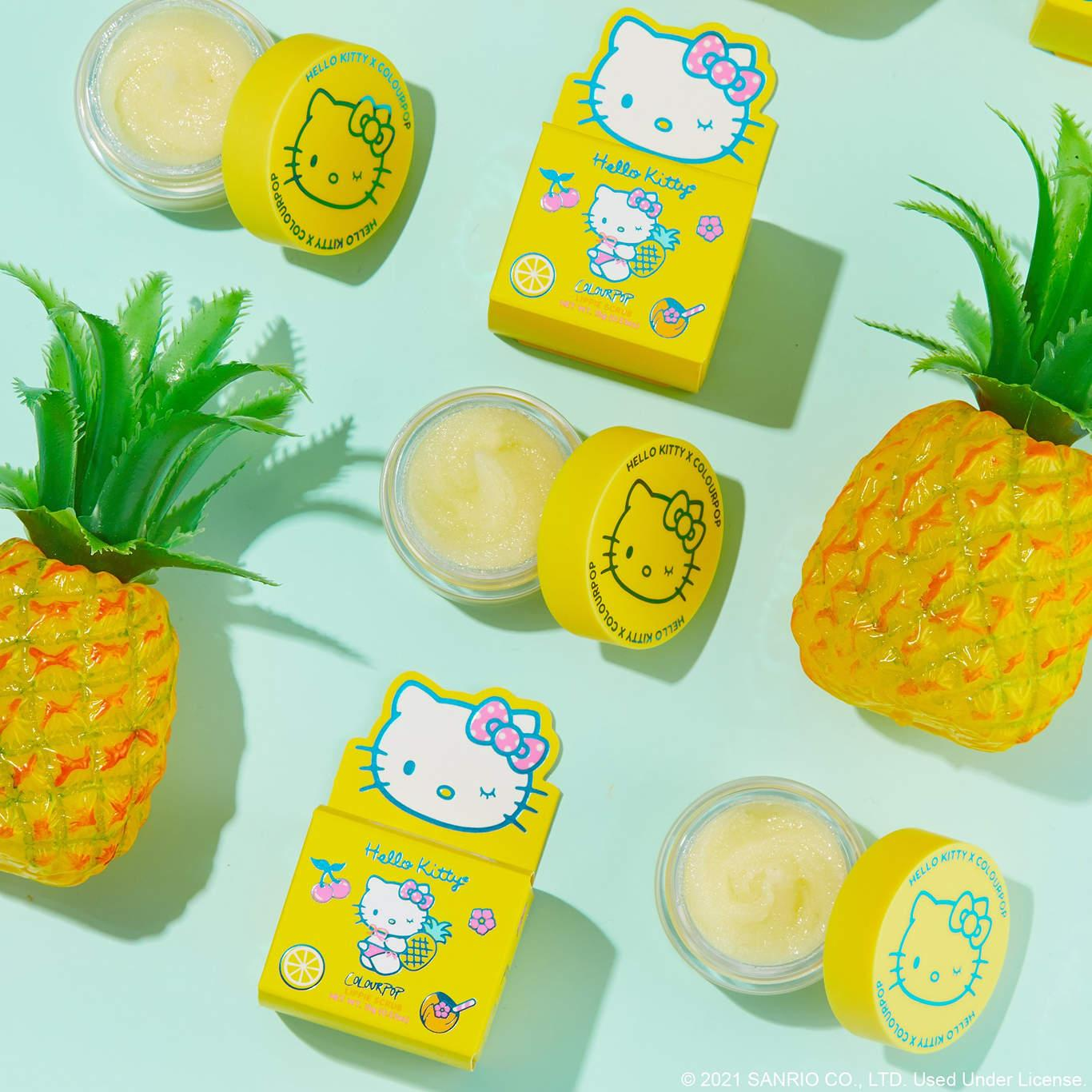 ColourPop x Hello Kitty Tropical Escape Collection Pineapple Pop Lippie Scrub Promo