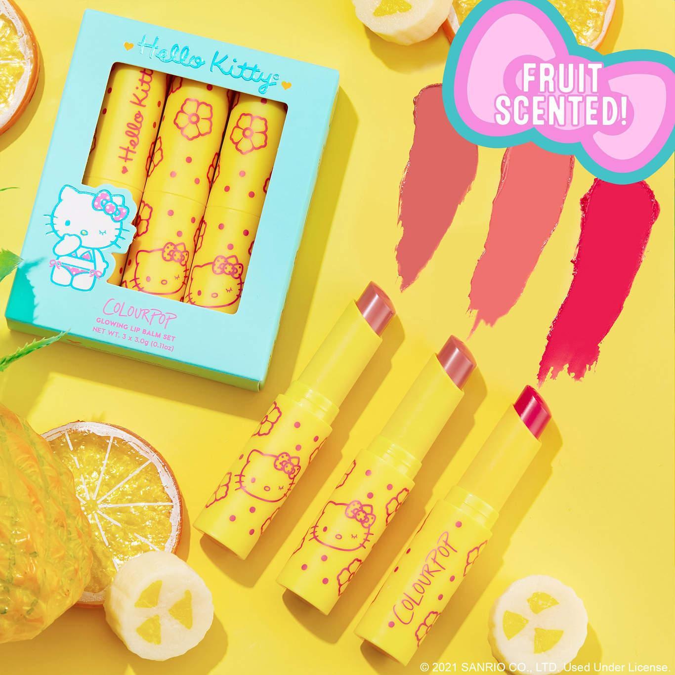 ColourPop x Hello Kitty Tropical Escape Collection Yummy Smoothie Glowing Lip Balm Kit Promo