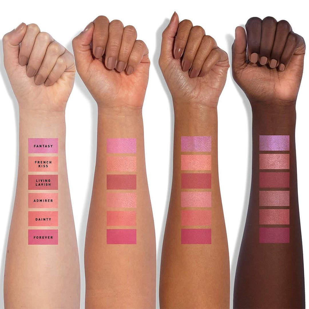 Jaclyn Cosmetics Bougie Rouge Collection Rouge Romance Matte Blush Palette Rouge Affair Arm Swatches