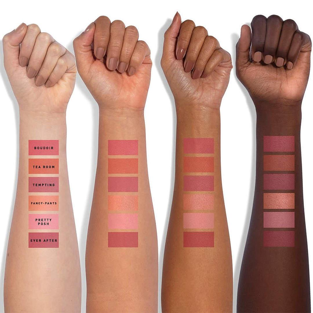 Jaclyn Cosmetics Bougie Rouge Collection Rouge Romance Matte Blush Palette Rouge Romance Arm Swatches