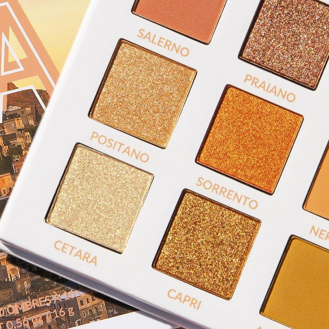BH Cosmetics Travel Series Amore In Amalfi 16 Color Shadow Palette Open Angled Promo Closer Look