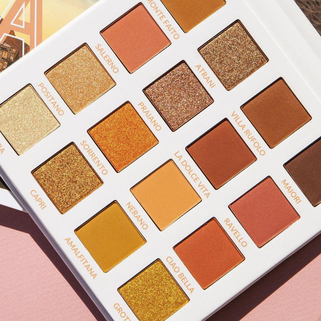 BH Cosmetics Travel Series Amore In Amalfi 16 Color Shadow Palette Open Angled Promo
