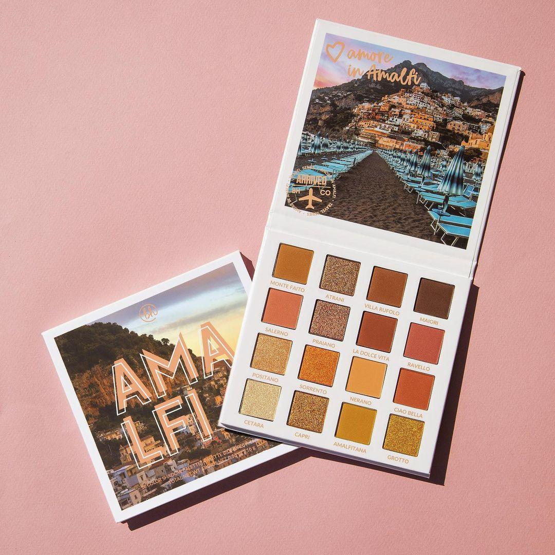 BH Cosmetics Travel Series Amore In Amalfi 16 Color Shadow Palette Open & Closed Promo