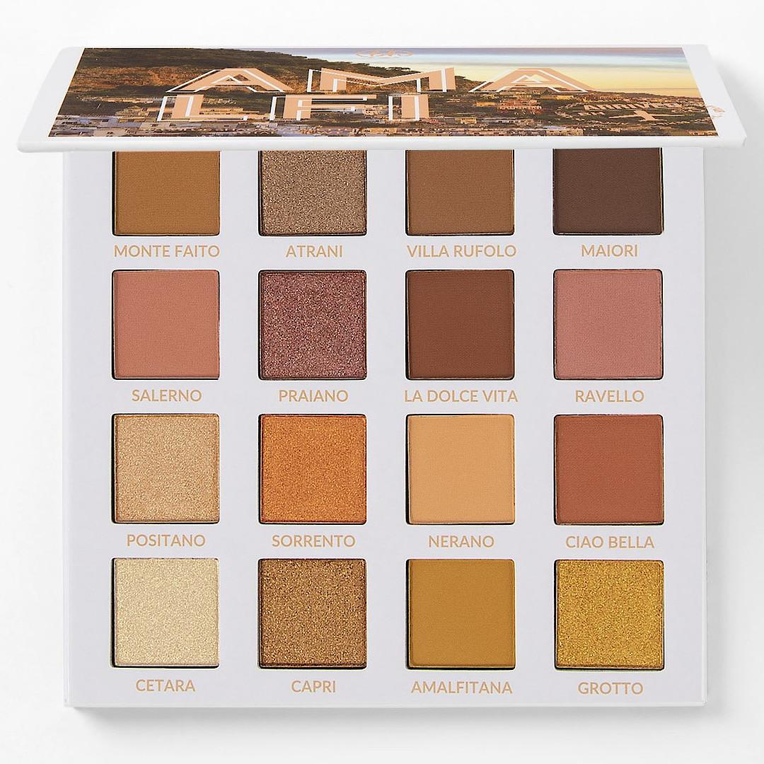 BH Cosmetics Travel Series Amore In Amalfi 16 Color Shadow Palette Open Front