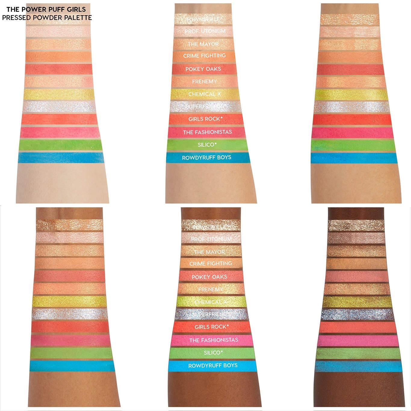 ColourPop Cosmetics The Powerpuff Girls x ColourPop Collection 12 Pan Palette Swatches