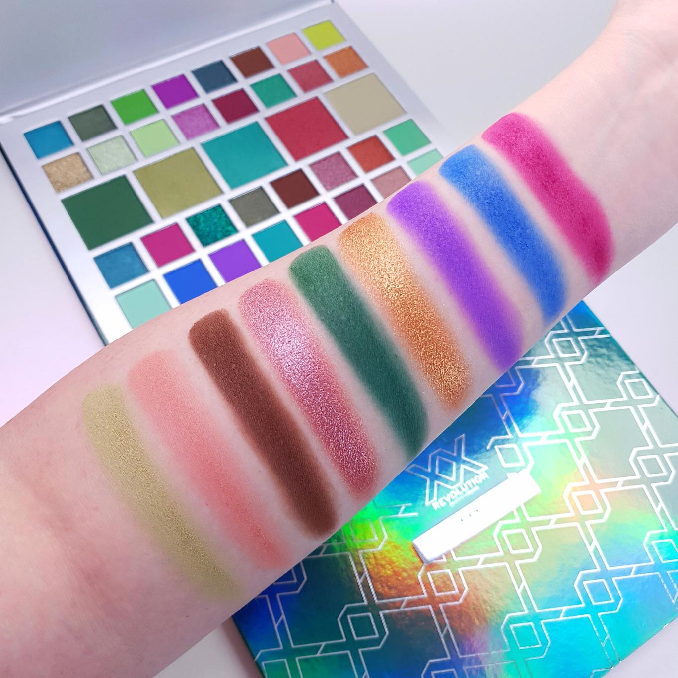 XX Revolution X Envy Eyeshadow Palette Light Arm Swatches