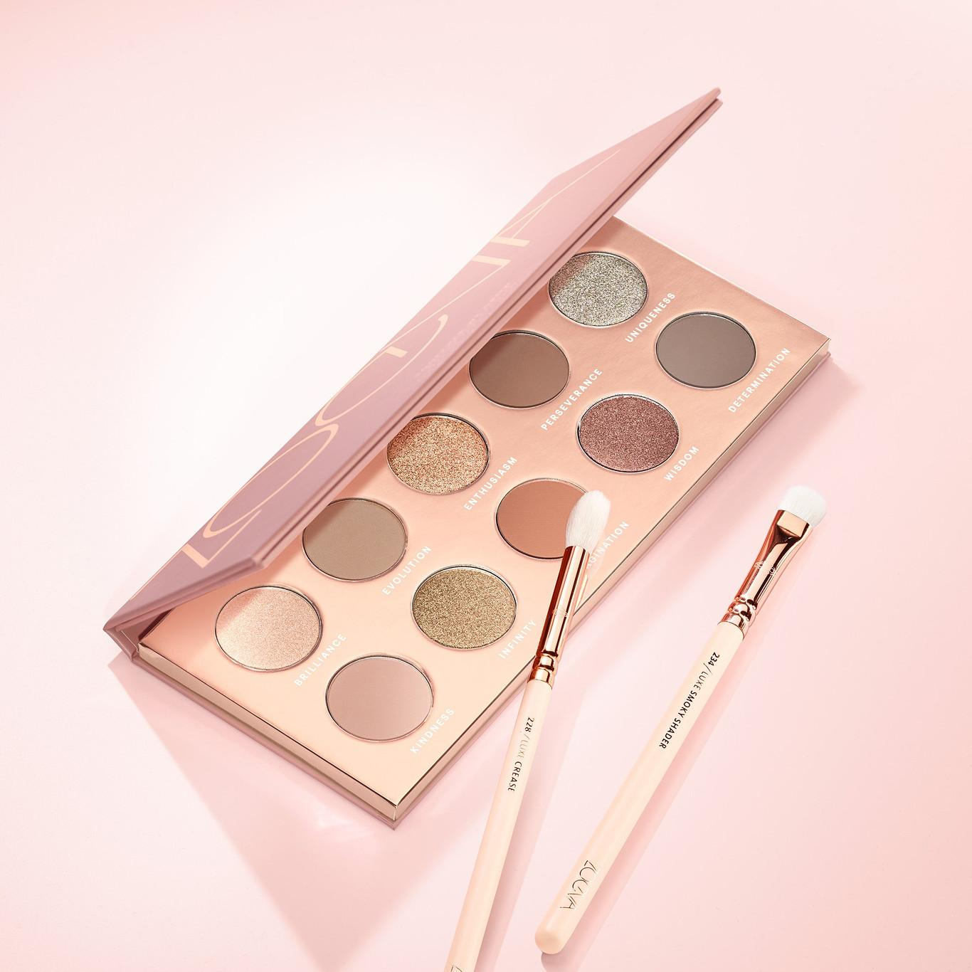ZOEVA Cosmetics Together We Grow Eyeshadow Palette Open With Brushes