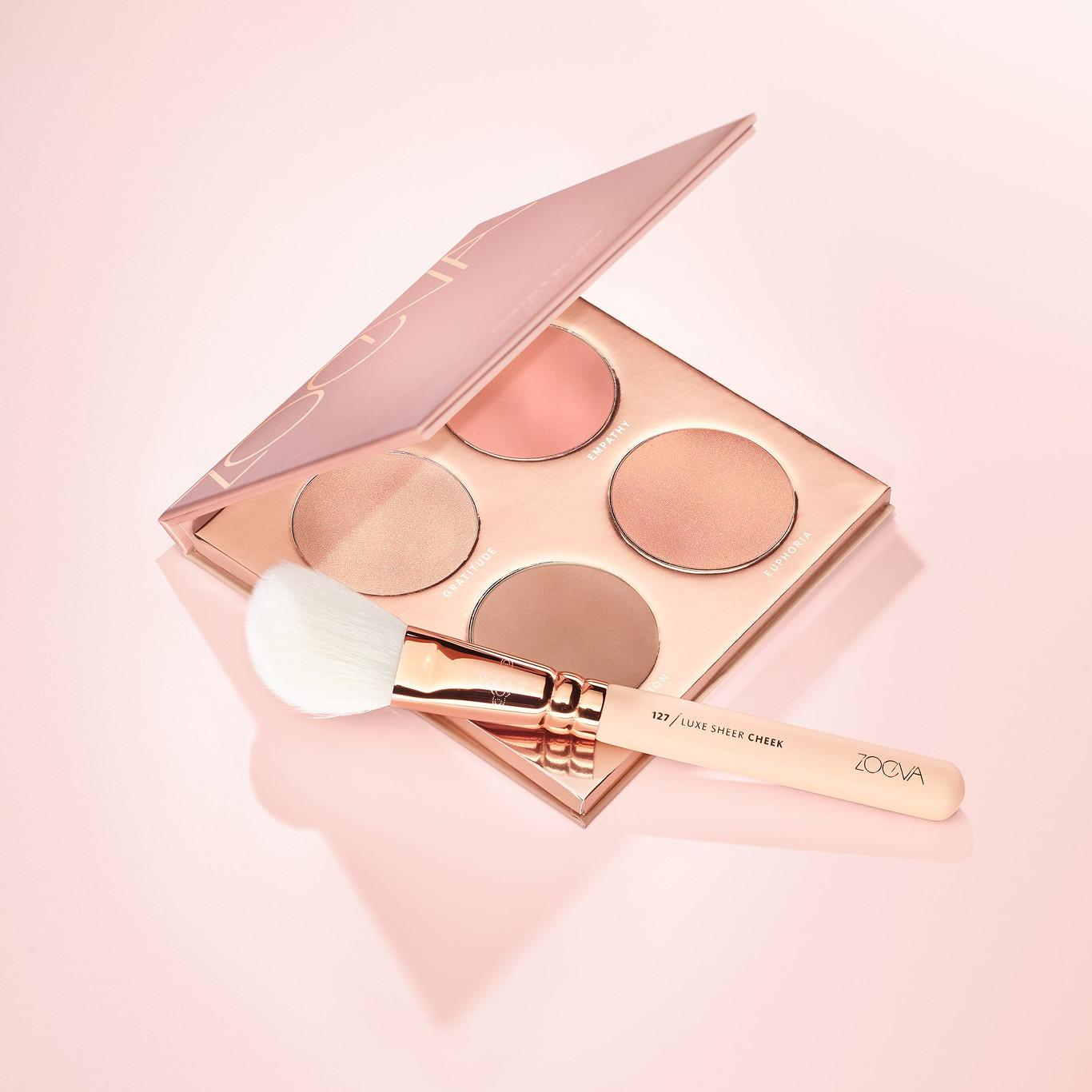 ZOEVA Cosmetics Together We Grow Face Palette Open With Brush